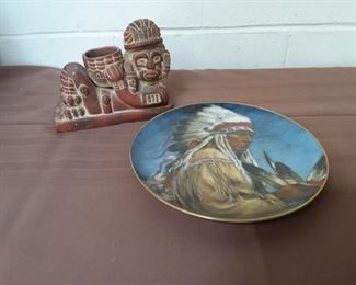 Native Indian Plate And Aztec Figure Lot #: 126