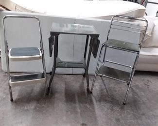 Chair, Step Stool, Metal Drop Leaf Table Lot #: 154