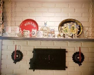 Iron Door came off Sunken Ship and was turned into Clock, Vintage Beer Glass, Trays, and Coaster collection