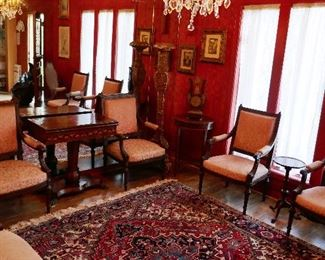 Finely Carved Suite inc. Bench and 4 Matching Chairs (Bench has as is leg)