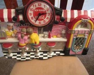 Vintage Coca Cola  3 D Ice Cream Parlor Jukebox Wall Clock