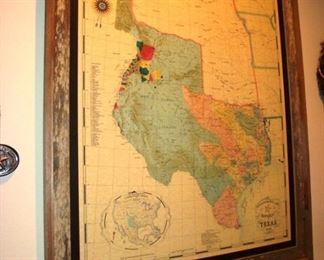 Framed 1836 map of Tejas (Texas).