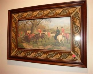 Framed picture of Fox hunters.
