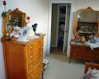 Vintage bedroom set - tall boy chester drawers, dresser with mirror and queen bed set.