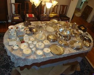 Vintage Dish Set, assorted Silver plated serving dishes, trays, etc. Christmas dish set.
