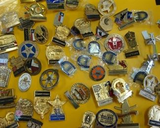Houston Livestock & Rodeo Belt Buckle Committee Pins/Badges - many are numbered and date from 1980's - 2010's.