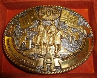 Houston Livestock Show & Rodeo 50th anniversary commemorative belt buckle. 24KGP