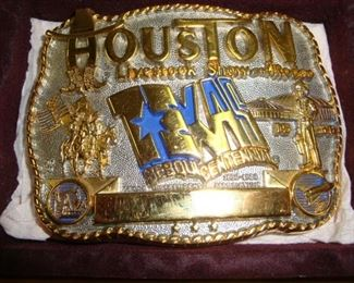 1986 Texas Sesquicentennial Houston Livestock Show and Rodeo Belt Buckle Gold Plated