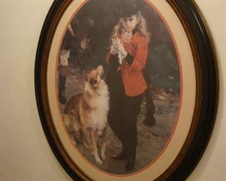 Framed picture of Lady fox hunter with her dog.