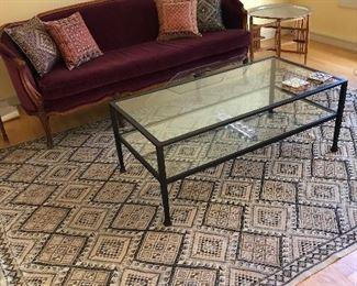 Tunisian woven rug, Pottery Barn coffee table, Beautifully restored American Sofa in burgundy velvet