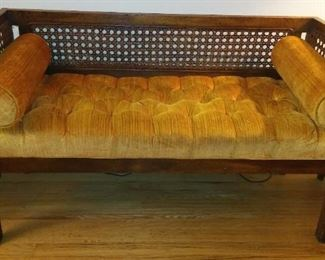 MCM Period Hall Seat aka Hall Bench or Bedroom Bench, Light Pecan Finish with Golden Upholstery.