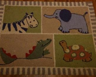Child's Bedroom Rug, with Zebra, Elephant, Crocodile, and Turtle.