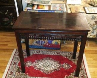Antique Chinese Carved Table w Removable Top.