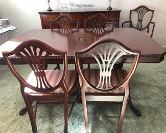 Duncan Phyfe Mahogany Dining Room Set with 6 shield back chairs, 2 leaves and pads, china cabinet and buffet