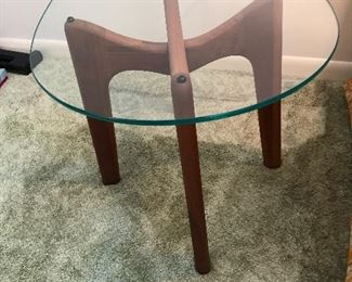 Adrian Pearsall walnut end table with Stingray glass top