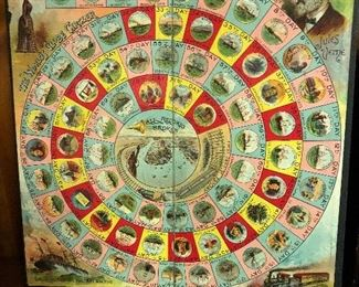 "1890 ""The World's Globe Circler"" game board based on Jules Verne's ""Around the World in 80 Days"""