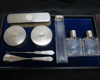English 8pc Sterling Silver Vanity Set