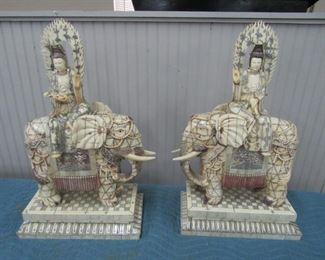 "Pr. Bone Clad Kwan Yins Elephants 24""h"