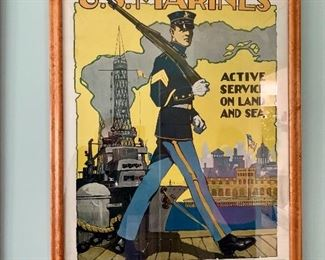 vintage U.S. Marines recruitment poster from Baltimore, Maryland