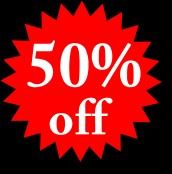 EVERY ITEM 50% OFF ALL DAY SATURDAY!
