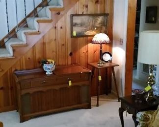 Leaded glass lamp, Magnavox stereo, Pennsylvania house side table with drawer