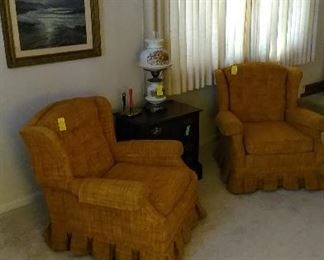 Gone with the Wind Lamp, framed beach scene, MCM arm chairs, great small chest