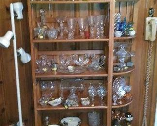Tumblers and stemware, crystal, cobalt glass, chalk ware vase