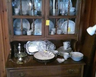 """Great china cabinet with Nitto """"Daybreak"""" china set and more"""