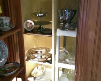 Silver plate items, luncheon sets, etc.