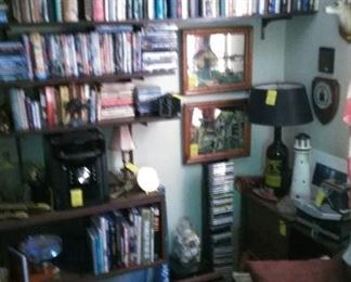 Navy Basketball, golf and wrestling trophies, books, cook books, DVDs, CDs, Sharp stereo system, etc.