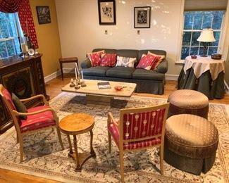 Living room sofa, chairs, table & area rug