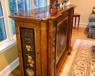 Painted bar with storage for bottles & glassware
