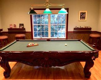 "Carved wood 8"" Pool table"