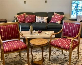Pair arm chairs with gold urn fabric