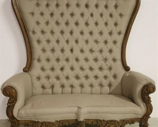 Fancy carved double high back settee
