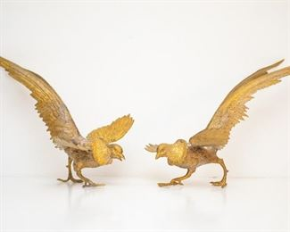 "Pair of Brass Male Pheasants - Approximately 15"" Long From Tip of Feather to Beak"