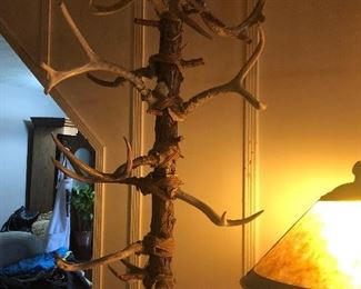 One of a kind antler hall tree