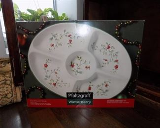 Two sets of Pfaltzgraff Christmas Dishes. Winterberry and Heritage