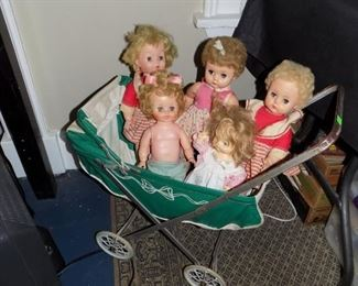 Vintage dolls and buggy
