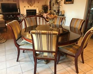 Versace Design Dining room with rotating centerpiece and 6 chairs