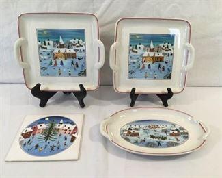 Villeroy & Boch Naïf Christmas Trivet Pickle Tray & Platter   https://ctbids.com/#!/description/share/269280