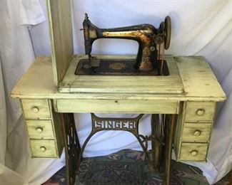 Antique 1950's Vintage 6 Drawer Singer Sewing Machine and Table Top https://ctbids.com/#!/description/share/269232