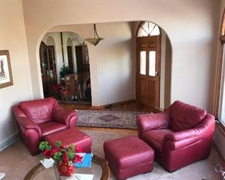 Set of Two each - Red/Burgundy Leather Chairs with Matching Ottomans