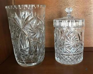 Crystal Vase and Candy Dish with Lid