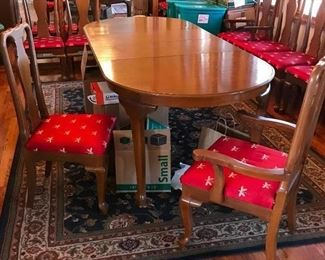 Wood (Philippine Mahogany) Dining Room Table and Eight Chairs