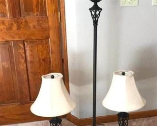 Set of Three Metal Lamps with Matching Cream Linen Shades