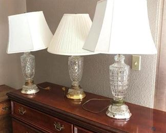 Four Cut Glass Lamp Base with Shades
