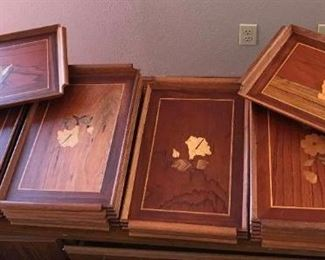 12 Wood Serving Trays with Inlaid Designs