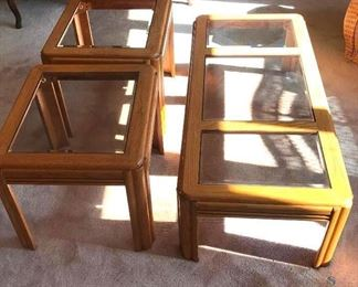 Three-Piece Set of Wood and Glass Tables