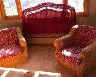 Wicker Headboard and Two Wicker Chairs